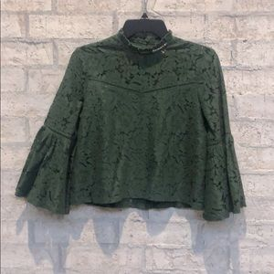 Lace detail forest green top